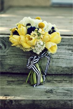 This bouquet is the perfect mixture of ivory, yellow, and navy blue. The soft yellow tulips and striped ribbon is what makes it perfect for a navy blue and yellow wedding Nautical Wedding, Blue Wedding, Wedding Bells, Wedding Colors, Dream Wedding, Wedding Ideas, Wedding Pics, Wedding Themes, Trendy Wedding