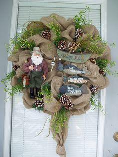 Fisherman Wreath Burlap Jute Wreath FISHING WREATH by AnnieOjan