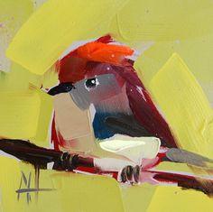 Ruby-crowned Kinglet no. 10 bird oil painting by Angela Moulton prattcreekart