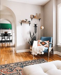 Feeling inspired by this perfectly styled corner. Wouldn't you just love to kick back and relax here? ☝🏼(Image: tagged with Guest Bedroom Decor, Guest Bedrooms, Airbnb Design, Unmade Bed, Airbnb House, Interior Styling, Interior Design, Eye Candy, Sweet Home