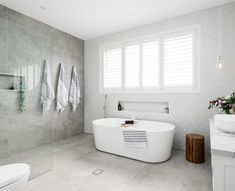 Walls: Opal White Subway by Amber Tiles Kellyville Floors: Bavaria Stone in Ice Modern Master Bathroom, Family Bathroom, Laundry In Bathroom, Bathroom Renos, Bathroom Layout, Bathroom Interior Design, Small Bathroom, Neutral Bathroom, Shiplap Bathroom
