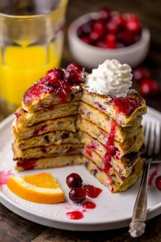 Cranberry Orange Pancakes - Baker by Nature