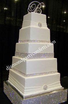 Rhinestone Bling Wedding Cake