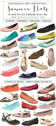 Flats to wear this summer that will also be super comfortable for standing in or walking around all day. http://mysocalledchaos.com/2016/08/fashionable-and-comfortable-shoes.html