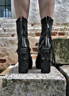 MS021602 Leather object-dyed unconstructed ankle boots. Heel measures approximately 130mm. Artisanal work by Andrey Moss. CREATIVE COLLABORATOR WITH DEVIL For more information and order: ccwdmoss@gmail.com