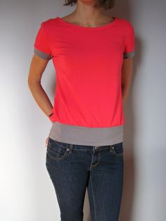 BOOm Coral Red Coral, V Neck, Red, Tops, Women, Fashion, Moda, Women's, Fashion Styles