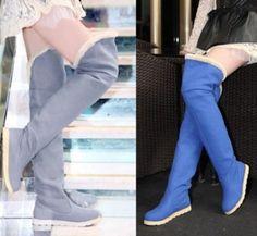 Womens fleece over the knee snow boots flat knee high booties warm shoes Black Knees, Snow Boots, Knee High Boots, Booty, Flats, Pure Products, Flat Shoes, Warm, Winter