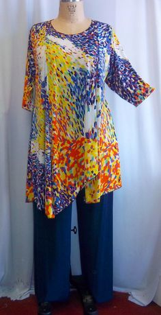 Coco+and+Juan+Plus+Size+Asymmetric+Tunic+Top+Whirl+by+COCOandJUAN,+$36.00