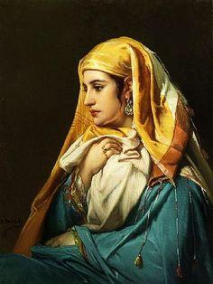 """Jean Francois Portaels (Belgian 1818-1895) - """"Femme Orientale"""";soyouthinkyoucansee on tumblr."""