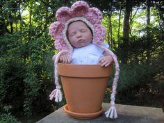 Flower Hat, Baby Hat, Baby Bonnet, Flower Petal Hat, Crochet Baby Hat, Photo Prop, Pink
