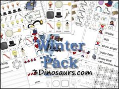 Free Winter Pack is to be used with children from 2 to 8. Winter Pack contains over 230 pages - Tot Pack contains 71 pages - 3Dinosaurs.com