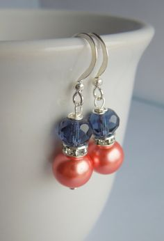 Navy Blue and Coral Earrings Pearls, Rhinestones and Crystal - Dark Midnight Blue and Coral Wedding - Sterling Silver Option on Etsy, $7.00
