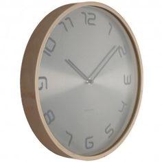 Silver Embossed Wood Wall Clock 35cm