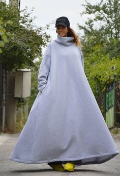 Winter Plus Size Maxi Dress, Daywear Long Dress, Plus Size Cotton Dress, Long women Dress for Fall, Casual Extravagant Dress by SSDfashion Plus Size Maxi Dresses, Plus Size Outfits, Dresses Uk, Evening Dresses, Plus Size Fashion For Women, Plus Size Women, Clothing Sites, Hoodie Dress, Unique Fashion