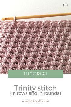 Different Crochet Stitches, Tunisian Crochet Patterns, Tunisian Crochet Stitches, Crochet Diagram, Crochet Motif, Crochet Designs, Free Crochet, Crochet Block Stitch, Crochet Instructions