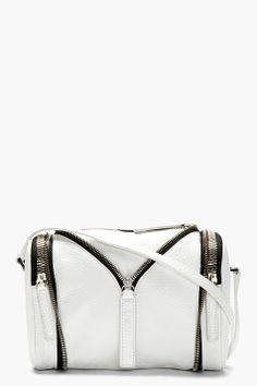 { Kara White Pebbled Leather Zip Detail Shoulder Bag }