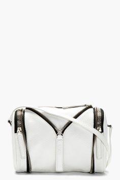 { Kara White Pebbled Leather Zip Detail Shoulder Bag }