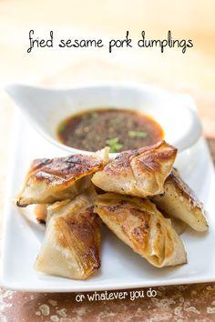 Sesame Pork Fried Dumplings | orwhateveryoudo.com