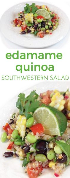 Southwestern Edamame Quinoa Salad w/lime vinaigrette. Delicious salad or dip with lime, cumin, cilantro, red onion and red wine vinegar. With Lima beans instead Veggie Recipes, Salad Recipes, Dinner Recipes, Healthy Recipes, Edamame Salad, Quinoa Salad, Southwestern Salad, Eating Vegetables, Veggies