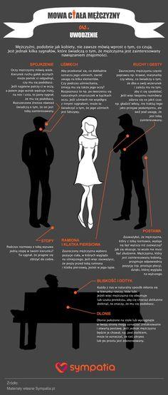 Infografika, jak sprawdzić na podstawie mowy ciała, czy mężczyzna cię uwodzi. Infographic about body language.