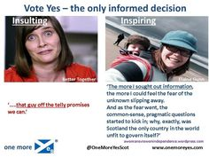 Insulted or inspired: the difference between the #BetterTogether and #Yes campaigns. #VoteYes #YesScotland #indyref pic.twitter.com/YWK4aBd3FI