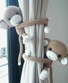 Monkey curtain tie back, cotton yarn crochet monkey, amigurumi. Monkey curtain tie back cotton yarn crochet monkey by thujashop Baby Boy Rooms, Baby Bedroom, Baby Boy Nurseries, Nursery Room, Nursery Decor, Baby Decor, Room Decor, Baby Room Ideas For Boys, Child's Room