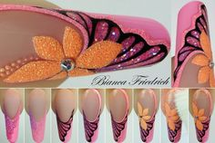 Uña especial Funky Nail Art, New Nail Art, Cool Nail Art, Butterfly Nail, Flower Nail Art, Gorgeous Nails, Pretty Nails, Airbrush Nails, Art Simple