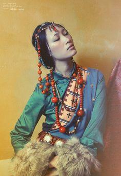 Tibetan Losar by Mr. Sith, via Behance Beautiful Face(s) Moda Tribal, Tribal Mode, Cultures Du Monde, World Cultures, Portrait Photography, Fashion Photography, Mode Costume, Ethnic Dress, Tribal Fashion