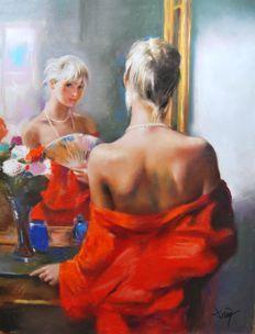 Domingo Alvarez (Barcelona, 1942) - Mujer frente al Espejo | Mujer ...