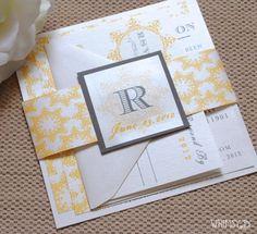 Yellow Orange Gray Wedding Invitations  Wedding by WhimsyBDesigns, $4.99