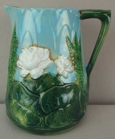 Majolica Pottery; Holdcroft, Pitcher, Pond Lily, Turquoise, 7 inch.