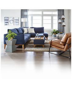 Navy Living Rooms, Masculine Living Rooms, Blue Couch Living Room, Farm House Living Room, Blue Sofas Living Room, Tan Living Room, Living Room Interior, Blue Living Room Decor, Sectional Living Room Decor
