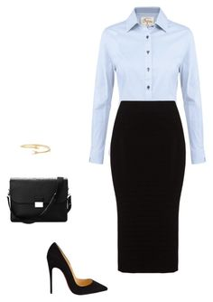 A fashion look from February 2016 featuring blue long sleeve shirt, knee length pencil skirts and black high heel pumps. Browse and shop related looks. Classy Work Outfits, Business Casual Outfits, Office Outfits, Chic Outfits, Fashion Outfits, Office Fashion, Business Fashion, Work Fashion, Secretary Outfits