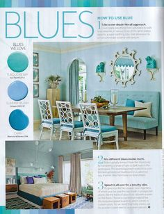 """""""Color is back! Discover how to use bright hues to transform any room—and have a little fun while you're at it"""" (© COSTAL LIVING). #color #blue"""