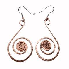 Amazon.com: Elaments Design Solid Copper Earrings Fibonacci Swan Design 2 Inch Dangle Hand Hammered: Jewelry