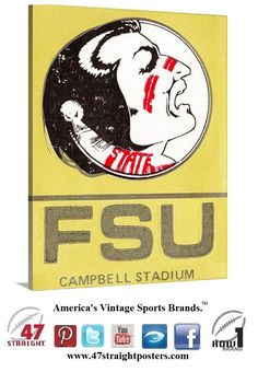 #FloridaState #Seminoles #collegefootball ticket art on canvas made from an authentic 1983 #FSU ticket. #gamerooms #mancaves #sportsdecor #Florida #ACC #gifts #giftideas #sportsgifts #47straight #row1brand