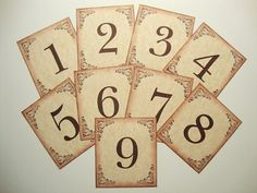 Table Numbers Rustic Country Vintage Style by papergirlstudios, $16.00