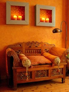 Carved settee in the Moroccan style. Notice the type of carving in Moroccan furniture Moroccan Furniture, Moroccan Interiors, Moroccan Decor, Moroccan Style, Indian Style, Moroccan Design, Furniture Decor, Moroccan Room, Indian Furniture