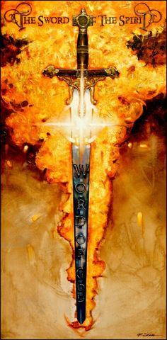 """""""The Sword of The Spirit"""" by Ron DiCianni. >>> Book cover: on the sword, write """"The Sword of the Spirit, the Word of God"""" in Latin or Hebrew :) Spiritual Warrior, Prayer Warrior, Spiritual Warfare, Bible Art, Bible Scriptures, Bible Book, Jesus Bible, Images Bible, Bible Pictures"""