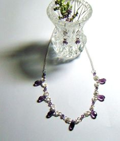 Purple Crystal Beaded Necklace and Earrings Set