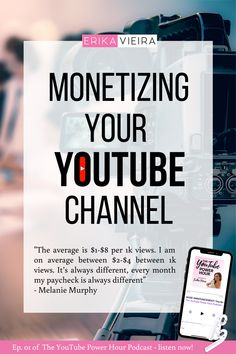 Monetizing your YouTube Channel. Listen to Melanie Murphy talking about growing on YouTube, how she went from 0 to 10ok subscribers in 10 months. Erika Vieira, The YouTube Power Hour Podcast #ErikaVieira #TheYouTubePowerHourPodcast Marketing Pdf, Content Marketing Strategy, Marketing Software, Marketing Tools, Marketing Ideas, Media Marketing, Digital Marketing, Youtube Editing, Youtube Website