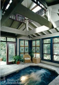 Heated indoor spa pool in Jackson House in San Antonio, Texas