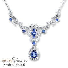 Natural Sapphire Necklace 1/2 ct tw Diamonds 14K White Gold from Jared's