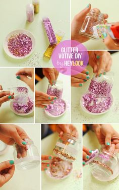 Instructions for the glitter votive:  -Apply paper glue or spray glue to jar. You can make shapes or simply apply it all over.  -Sprinkle the jar with a good amount of glitter. Make sure you don't leave any glue spots uncovered.  -Tap on the glitter particles carefully, then shake off excess glitter and you're done.  -Place a votive candle in the jar or use it as vase