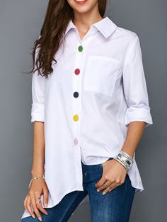 Irregular Thin Women Office Lady Shirt Top Plus Size Colorful Button White Long Sleeve Feminine Blouses Tops Summer Lady Shirts Casual Outfits, Fashion Outfits, Fashion Fashion, White Shirts, White Blouses, Summer Tops, White Long Sleeve, Blouse Designs, Blouses For Women