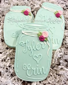 """Simple mason wedding favors. I like these bc there's no """"having a Ball since.."""""""