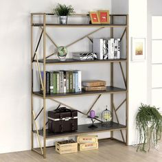Add a metallic accent to your home with this statement bookcase. Choose from chrome or champagne to enhance the shined metal framework while the four espresso finished shelves offer room to display your treasured décor.