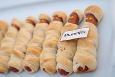 """We make these all the time, but not as mummies (which was the original idea, but they are so good and it isn't always mummy time). Fun Halloween idea, except I would have to explain mummies to the kids. @Kat Garrett this is a fun homeschool egyptian era idea! or movie night with """"The Mummy"""" when the kids are older. much older"""