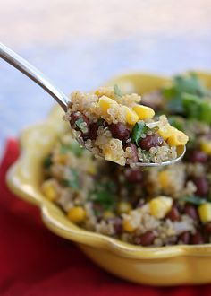 "The newest ""super"" grain to emerge in healthy cooking is quinoa.this salad combines quinoa with black beans, corn, cilantro, and lime. Vegan Quinoa Recipes, Bean Salad Recipes, Vegetarian Recipes, Healthy Recipes, Weekly Recipes, Weekly Menu, Healthy Foods, Clean Eating, Healthy Eating"