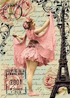 Original digital collage ephemera altered art by - Another inspiration to convert from digital to a handmade creation.It's ballet and Paris. This piece simply SCREAMS me allover it! Vintage Labels, Vintage Ephemera, Vintage Postcards, Decoupage Vintage, Collage Vintage, Images Vintage, Vintage Pictures, Collage Sheet, Collage Art